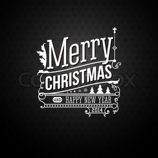 Christmas greeting card Merry Christmas lettering in vintage style Vector illustration