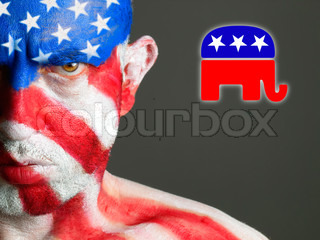 Man face flag USA and republican symbol