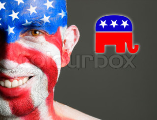 Man face painted flag USA, republican symbol