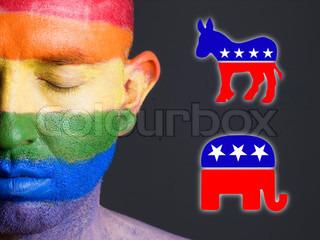 Gay flag face, democrat and republican symbols