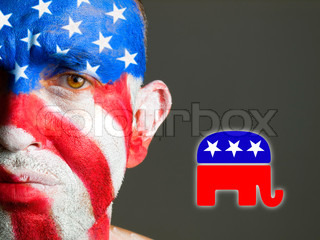 Man face flag USA, sad expression, republican symbol