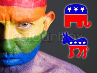 Gay face flag with democrat and republican symbols