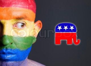 Gay flag face man and the republican symbol