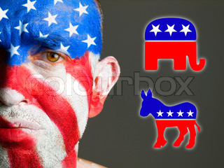 Man face flag USA, sad expression, democrat and republican symbols