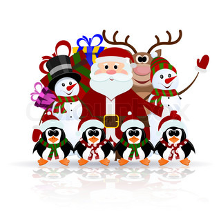 Santa Claus, penguins, reindeer and snowman on the ice - greeting card for Christmas