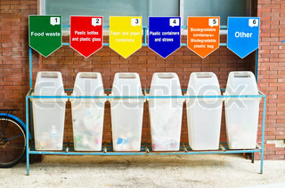 6 trash containers for garbage separation