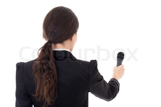 female journalist with microphone isolated on white