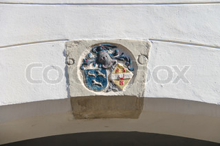 Coat of arms on the wall of a building in Dordrecht Netherlands