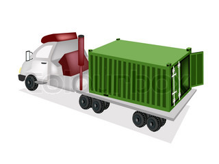 A Container Truck Delivering A Cargo Container