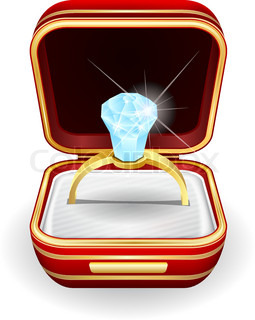 Gold wedding rings in red box. Eps10 | Vector | Colourbox