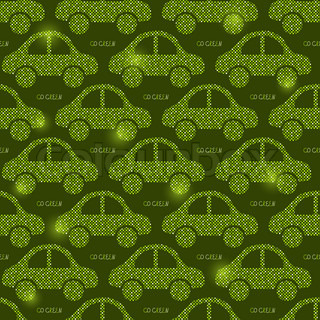 Green Eco Car Seamless Pattern