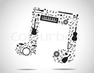 music note icon made up of different musical instruments and notes with a bright white background : concept design vector illustration unusual art