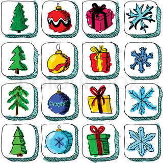 Set of colorful Christmas sketch icons with baubles and gifts