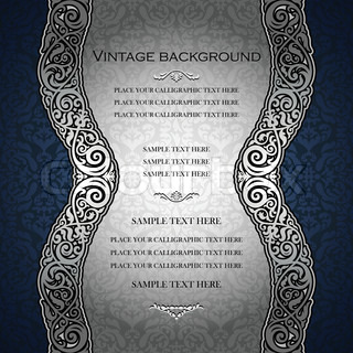 Vintage blue background, antique, victorian, silver ornament, baroque frame, beautiful invitation card, ornate cover page, label, floral luxury ornamental pattern template for design