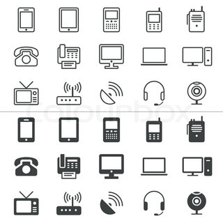 Communication device thin icons, included normal and enable state.