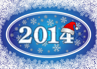 New year background - Inscription 2014 with Santa Claus hats, in the frame consisting of snowflakes