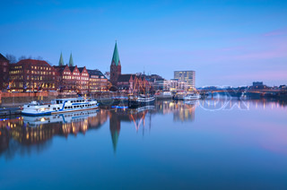 beautiful sunset over river in Bremen