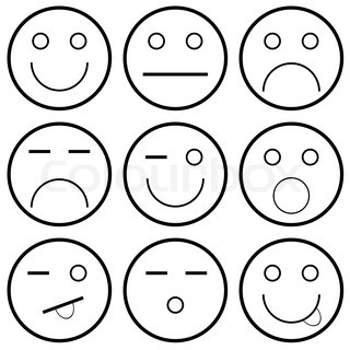 Happy Face Emotion Vektor-Icons von Smile...
