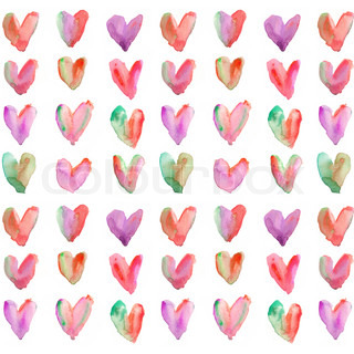 Purple and Red Watercolor Hearts Background