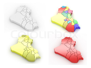 Map of Iraq on white background