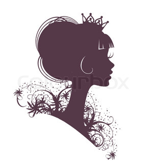 princess silhouette isolated on a white background stock vector