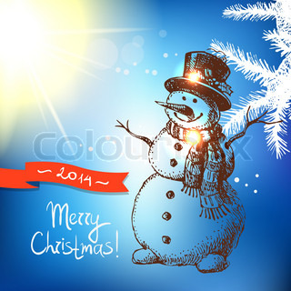 Christmas background with hand drawn illustration