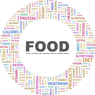 food concept related words in tag cloud conceptual info text