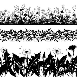 Flowers and grass silhouette set seamless