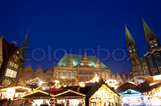 City Hall and Christmas market in Bremen by night