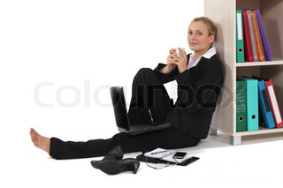 Young woman relaxed in front of computer