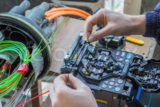 Fibre optic technicians installing fiber optic cable | Stock Photo ...
