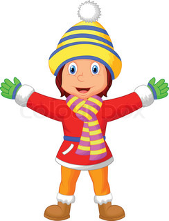 Cartoon a girl in Winter clothes waving hand