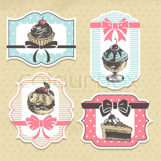 Set of vintage bakery labels. Vintage frames with sweet cupcakes