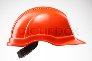 Red hard hat isolated on white