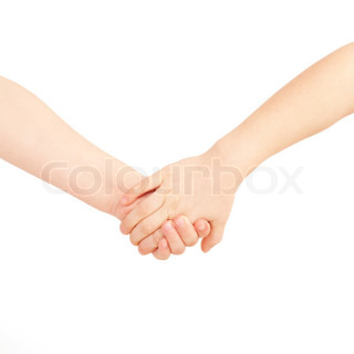 Little boy and girl holding hands. Friendship and love concept. Isolated on white background
