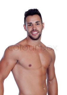 Handsome shirtless young man with defined muscles