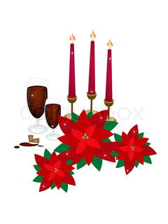 Christmas Candles with Red Poinsettia Flowers and Wine
