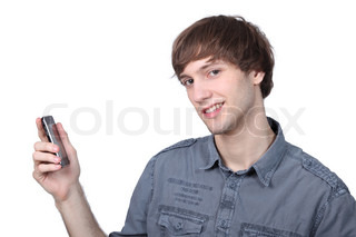 Young man holding a mobile phone