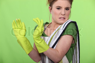 Disgusted house cleaner