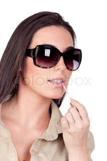 Sexy girl with sunglasses makeup