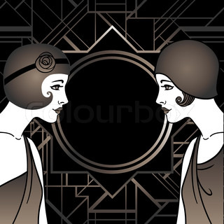 Flapper girl: Retro party invitation design.