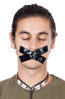 Teenager with mouth sealed