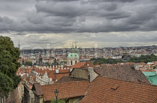 Beautiful Aerial view of Ancient Prague in summer season