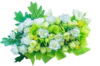 Decorative artificial green flowers