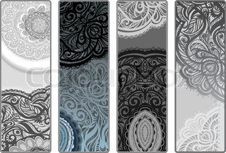 Vector variants vertical flyers . Four seasons in color. Decor of lace