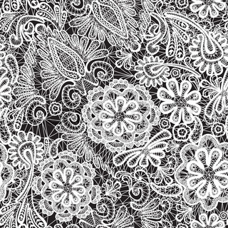 Lace seamless pattern with flowers - fabric background