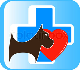 veterinary icon with dog, cross and heart
