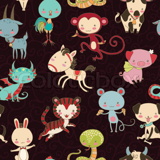 Chinese zodiac animals vector seamless pattern.