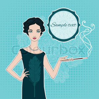 Retro style girl vector illustration. (20-30's style)