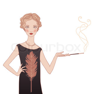 Retro style young woman isolated vector illustration. (20-30's style)